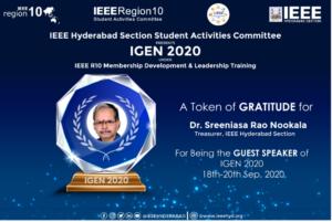 Token of GRATITUDE for GUEST SPEAKER of IGEN-2020